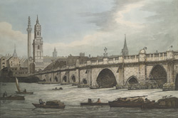 View of London Bridge including the Church of St Magnus and Monument